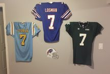 Buffalo Bills Football / Buffalo Bills Football jerseys on the Ultra Mount jersey display hanger.