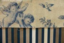 """""""Seraphin"""" tissus Toile de Jouy  (Thevenon) / tussu toile de Jouy : Seraphin (Thevenon) トワルドジュイ布:天使セラファン (フランス、テヴノン社)"""