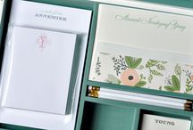 Stationery Wardrobes / Haute Papier's Stationery Wardrobes are the best gift for the stationery aficionado in your life!  They contain 25 pieces of letterpressed personalized stationery, 50 letterpressed calling cards, 2 double thick note pads and coordinating pencils - all in a beautiful white lacquer box.