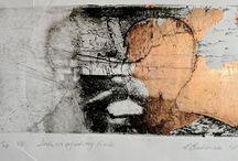Intaglio & Metal leaf - 'Interrogating Rock' v.e.