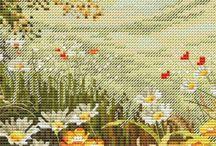 Hafty krzyżykowe - Kwiaty