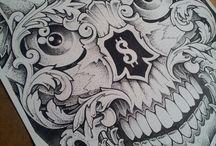art skull / Drawing pencil&ink
