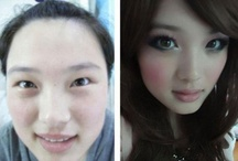 Before and after make-up / The difference of face with make-up and without make-up