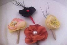 Boutonniere alfileres o prendidos para novios y padrinos con flores de Tela de Algodón de Luna