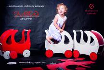 Zabawki drewniane Oloka-Gruppe / Niepowtarzalne ekologiczne zabawki dla dzieci, w tym: wózki dla lalek, pchacze, chodziki, wózki do ciągnięcia z dyszlem lub sznurkiem...