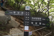 Bring It On Trail Run Road Sign 16 and Information Sign / 대남문 이정표 & 성랑지 Road Sign to Daenammun & Seongnang Site Information Sign GPS: 37.638451  126.968910 고도(Altitude): 607m