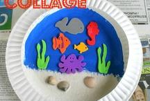 Bord zeedecor / Kartonnen bord met zand schelpjes en verf