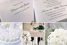 White wedding invitations and stationery