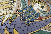 DOWN CATHEDRAL MOSAIC FEATURE PANEL TWO / The second of 2 number hand made decorative mosaic circular panels depicting imagery from Book of Kells with water jet letter biblical surround, commissioned by Down Cathedral, Downpatrick in the heart of Co.Down. Manufactured and assembled in our Manufacturing Plant using our full palette of full body matt and polished porcelains.