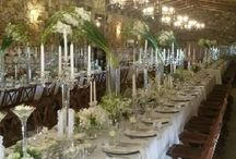 Rectangular / Banquet Style Table Settings - White Flowers
