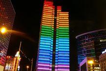 prédios led colorido