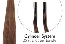 Cold Fusion Hair Extensions / Our cylinder system features our unique Duratip™. This strand by strand system is applied without the use of glue, heat or chemicals. Instead, small copper cylinders are used to gently bond the extensions to the client's hair.
