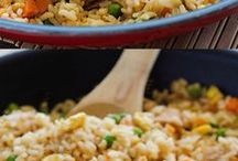 Rice dishes.