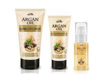 """Argan Oil- hair repair / Linia Argan Oil to produkty stworzone do szczególnej pielęgnacji włosów potrzebujących – przesuszonych, słabych, łamliwych, z rozdwojonymi końcówkami oraz tych, które do tej pory trudno było zregenerować i przywrócić piękny wygląd. Receptury tych kosmetyków zostały oparte o jeden z najcenniejszych składników pielęgnacyjnych – olejek arganowy, zwany także """"płynnym złotem Maroka""""."""