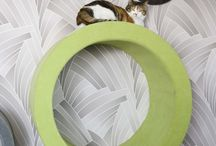 Emmental collection / Emmental collection of Catworks is inspired by the famous Swiss cheese Emmental. Emmental collection is made of circles in various sizes mounted onto the wall in different heights. This collection has removable covers which can be washed in the washing machine.