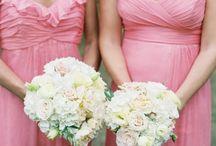 Blush pink, peach, bouquets