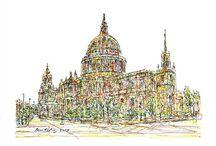 London Art / Impressionistic ink drawings of London.
