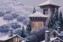 kış manzara resmi