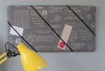 handmade fabric bulletin boards / Creating bulletin boards that are fun and have a vintage vibe. These are boards which don't require pins - the elastic keeps your items in place.