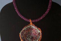 Jane Ebone Sculptural Jewelry / Contemporary Jewelry, Viking Knit, Wire Crochet, Wire, Crochet, Sculptural necklace, Statement necklace, Pendant necklace, Beads, Wire