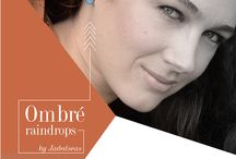 Dip Dyed or Ombre / colorful dip dyed ombre raindrop stud earrings