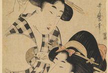 """Estampas japonesas """"Ukiyo-e"""": Imágenes de un mundo flotante / """"Vivir únicamente el momento presente, entregándose en cuerpo y alma a la contemplación de la luna, de la nieve, de las flores de cerezo y las hojas de arce, cantar canciones, beber vino, divirtiéndonos simplemente flotando, flotando, sin dejarnos abatir por la pobreza ni permitiendo que trasluzca en el rostro, sino flotar a la deriva como una calabaza en la corriente de un río: esto es lo que llamamos ukiyo""""  Asai Ryõi (1661-1665), prefacio de """"Ukiyo monogatari"""" (Cuentos del mundo flotante)"""