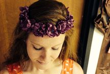 Crown flower headband / Hand crafted flowers made from satin fabric / by Liz Crump
