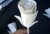 Wire and tissue paper flowers
