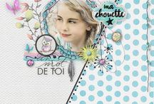 Dessine-moi le bonheur / Watercolor and flower digital kit. Layout sweet and girly. Scrapbooking digital kit.