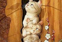 kočky na dřevě