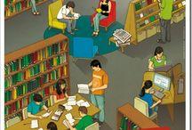 Cartaces e infografías. / Sobre biblioteas escolares, lectura e aprendizaxe