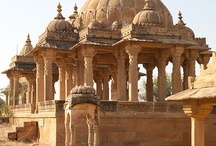 Bada-bagh, Jaisalmer / A splendid set of cenotaphs in the middle of desert right outside Jaisalmer. These visually stunning architecture was commissioned but the Maharawals of Jaisalmer and stand tall and elegant, quietly waiting for visitors to grace them with their visits.