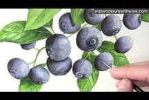 Watercolour - Berries and fruit