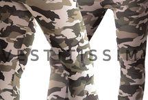 Leggings leggins donna pantacollant fuseaux pantaloni mimetico militare