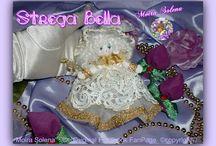 ✿⊱╮ BAMBOLE DI STOFFA - STREGA BELLA ✿⊱╮ / STREGA BELLA...elegantissima, abito in pizzo, sottogonna in tulle scarpine in panno con perle, decorazioni con passamaneria dorata e bacchetta magica.