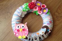 Hoops/door wreaths and letters / Home made hoops and letters