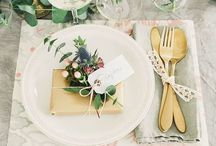 Wedding table set up & cutlery & napkins