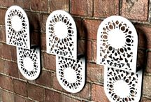 Lace Coat Hangers / Beautiful coathangers suitable for indoors and outdoors. Wonderful lace patterns to compliment lace furniture and other accessories