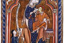 Dress 1200-1300 - Sources / Miniatures, murals, sculpture - Miniaturen, wandschilderingen, beeldhouwwerk