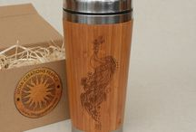 Litha Creations - Bamboo Travel Mugs / Personalized Tumblers, Bamboo Wooden Travel Mug with Customized Engraving, 420 ml, stainless steel, plastic lid mounted with rubber, anti-slip pad. See more at www.lithacreations.com