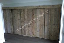 Achterwand bed / Steigerhout