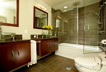 Bathroom Design 10 / We designed this transitional style full size bathroom with vessel glass bowl sink.