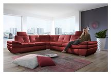 Modern Genuine-Leather Red Sectional