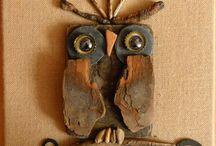 Driftwood owls / animals