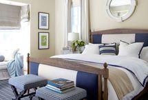 Bedrooms in Navy/Tan/White