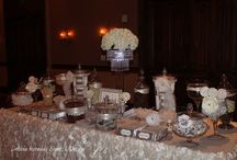 Bat Mitzvah / Bat Mitzvah in White, Tan and Chocolate Brown, Candy Buffet Stylist: Debbie Kennedy Events & Design. www.debbiekennedyevents.com https://www.facebook.com/DebbieKennedyEvents Printables: www.squaredpartyprintables.com Floral: AJ's Fine Foods Linens for Candy Table: www.wildflowerlinens.com