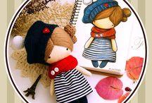 Small fabric dolls