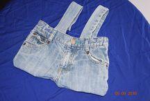 sacs en tissu / sac réalisé à partir de vieux jeans, pantalons et des chutes de tissus pour les doublures