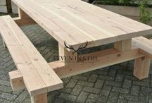 Wood table and bench