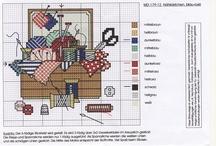 Ev ve dikis esyalari kanavice sablonlari / furniture of home -sewing cross stitch crafts